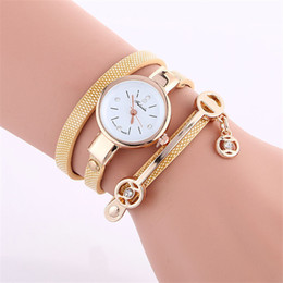Wholesale Vintage Diamond Bracelets - Luxury Vintage Watch PU Leather Strap Quartz Analog Wristwatches Bracelet Women Girl Casual Dress Watch Imitation Diamond Gift Bangle