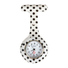 dot watches Coupons - 1PCS dot  flower pattern Silicone Nurses Brooch Tunic Fob Pocket Watch Stainless Dial,9TYPE