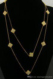 Largos de collar para las mujeres online-Nueva llegada Collar de latón y marca con flor en 10 piezas con todo el diamante en 75 cm de longitud con flores de colver para las mujeres joyería de boda