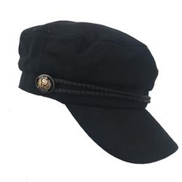 Wholesale Kentucky Hat Vintage - Military Hat Caps Winter Hats For Women Men Vintage Flat Top Militar Black Beret Army Cap Bone Female Male Black Gorras Burgundy Cotton