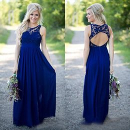 Royal Blue A-Line Chiffon abiti da damigella d'onore Sheer Jewel Lace Top aperto indietro Long Country Maid of Honor Abiti da sposa Prom Dress Custom da abiti da damigella d'argento neri economici fornitori