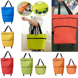 Wholesale portable trolleys - Shopping Trolley Bag With Wheels Portable Foldable Shopping Bag reusable storage Shopping Wheels Rolling Grocery Tote Handbag WX9-718