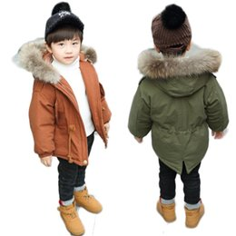 d48fb930a4eeb Autumn Winter Kids Faux Fur Collar Hooded Jackets Toddler Warm Coats Baby  Cute Clothing Children Cotton Padded Outerwears G244