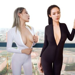 Wholesale open crotch uniform lingerie - women's lingerie set corsets bustier bodysuit crotch open high elastic vertical stripes stereo conjoined bunch queen suit nightclub uniforms