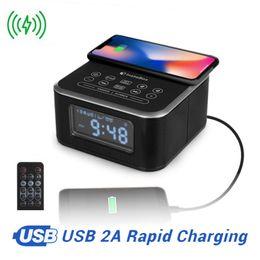 InstaBox W33 Radio FM avec haut-parleur Bluetooth Alarme Support lecteur MP3 Chargeur sans fil pour iPhone Samsung Télécommande Horloge ? partir de fabricateur