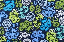 blau checked bettwäsche Rabatt 150cm breites blaues Karikatur-Musterblumen-Karo Baumwollgewebe für diy Stoff, Kleidungs- / Kissen- / Handtaschen- / Bettzweckgewebe