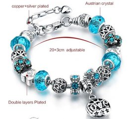 Wholesale choice print - Hot Sale Europe Fashion 18+3cm 925Sterling Silver Plated Love Printed Charms Bracelets,6 Different Colors for your choices