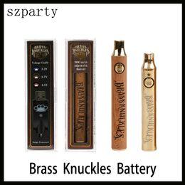 2019 gemacht box mod Brass Knuckles Patronen Batterie 650mAh 900mAh Variable Spannung Vorheizen E-Cig VV Batterie Stift für 510 Thraed Thick Oil Cartridge Zerstäuber