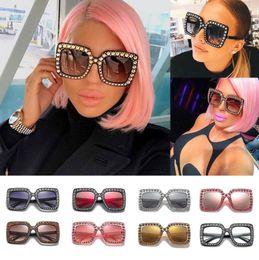 Wholesale Round Sunglasses Brands - Vintage Oversized Square Frame Bling Rhinestone Sunglasses Luxury Brand Crystal Women Fashion Shades Bling Sunglasses LJJK994