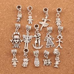 2019 schöne perlen für mädchen Hübsches Mädchen Boy Charm Beads 100 teil / los Tibetischen Silber Fit Europäischen Armband Schmuck DIY Lose Perlen BM54 günstig schöne perlen für mädchen