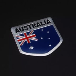 car flags stickers Coupons - Car styling Automobiles Car Aluminum Australia Flag Trunk Rear Badge Emblem Side Sticker 5*5cm