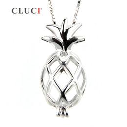 colliers pendentif hibou diamant Promotion CLUCI 925 collier en argent sterling pendentif populaire médaillon de fruits creusé pendentif cage d'ananas 3 pcs S18101607