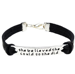 Wholesale Inspirational Leather Bracelets - Inspirational Bracelet She Believed She Could So She Did Adjustable Braid Leather Charm Inspirational Gift For Students Girls Women Children