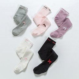 Wholesale Knitted Leggings For Girls - Girls knitting loving heart tights for 0-4T 5 colors cute solid colors kids ribbon bowknot pantyhose cotton leggings Toddlers Girls tights