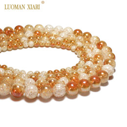 одно каменные украшения Скидка Wholesale One Side Plated Orange White Snow Cracked Crystal Natural Stone  For Jewelry Making DIY Bracelet Necklace 6-12mm