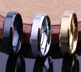 Wholesale plain gold wedding bands - 50pcs top mix GOLD BLACK SILVER 6mm MEN WOMEN Stainless steel Band Rings Fashion Classic Wedding Rings Simple Plain Rings Wholesale Jewelry