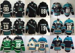 San jose haifisch sweatshirts online-Günstige San Jose Sharks Herren 88 Brent Burns 19 Joe Thornton Blank Custom jede Name Nummer Schwarz Blau Beige Grün Hoodie Sweatshirts Trikots