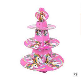 отправлены праздничные пироги Скидка Единорог дети День Рождения украшения торта стенд торт аксессуары Baby душ поставок Emoji бумаги кекс держать DHL Бесплатная доставка