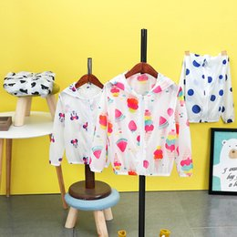 Wholesale Baby Beach Protection - Baby Boy Summer Sunscreen Outerwear Kids Casual Hooded Jackets Children Boys Girls Dots Sun Protection Beach Clothes