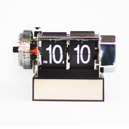 Wholesale Gear Decor - Hot Automatic Flip Clock Stainless Steel Internal Gear Operated Novelty Digital Table RetroClocks For Home Decor