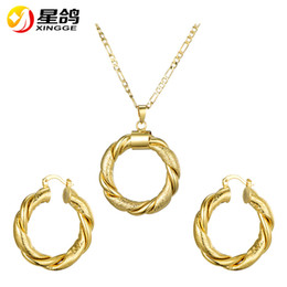 asian costumes for women Promo Codes - Beautiful Gold Color Circle pendant Necklace Earrings sets Costume Jewelry Sets for Women Birthday Gift for Women