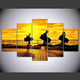 Gruppi di arte del gruppo online-2017 Time-limited 5 Pannello Modern Surfing Group Tramonto Hd Art Print Tela Dipinti Senza Cornice Per Soggiorno Immagine
