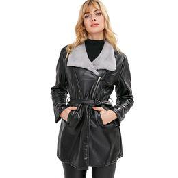 jaket lungo cappotto Sconti 2018 Donne giacche in pelle donna inverno giacche e giacche 2018 donne cappotto lungo plus size cappotto invernale pelliccia parka vera pelliccia # 4030