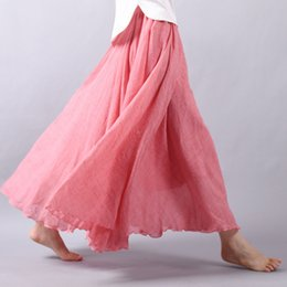 Wholesale vintage flax - Women Summer Linen Skirt Female fashion Elastic Waist Pleated long Skirt Beach Bohemia Vintage Solid color flax Skirt