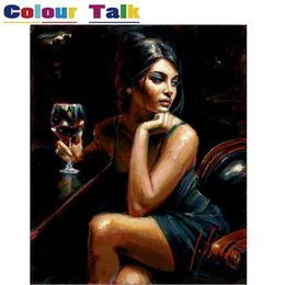 Wholesale Modern Figure Sexy Abstract - Oil Painting By Numbers Figure Painting Modern Handpainted Canvas Pictures By Numbers Drawing Home Decor Hot Sexy Woman P-5117