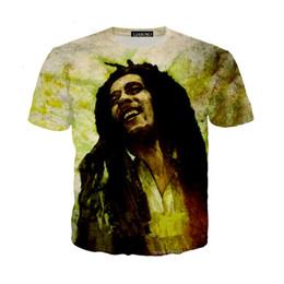 Певица Reggae BOB Marley Новейшая мода Мужчины / Женщины Топы 3D Печать T-Shirt Unisxe Смешные Короткие рукава Тройники 3D футболка N284 cheap bob marley prints от Поставщики фотографии bob marley