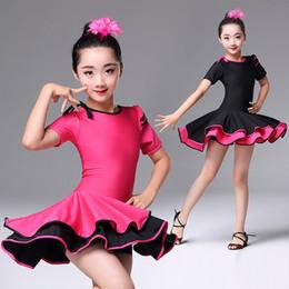 2019 vestidos de rosa vermelha para crianças Conforto vestidos de dança latina para a menina rosa preto vermelho elástico professa criança kid colegial de fitness ballroom dress q11128 vestidos de rosa vermelha para crianças barato