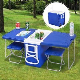 Glacière extérieure roulante en Ligne-Multi-fonction Rolling Cooler pique-nique Camping extérieur w / table 2 chaises bleu