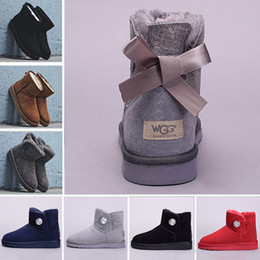 Crystal Button WGG winter Australia Classic snow Boots fashion UGS tall boots real leather Bailey Bowknot women bow Knee men shoes sneakers