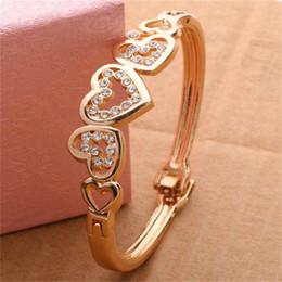 brazalete de latón africano Rebajas Pulsera caliente del encanto del corazón del amor de la señora Gold-Color Crystal Gold Bracelet