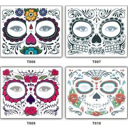 Tatuaje más rápido online-Juguete de la Navidad Fiesta de Halloween Día facial de los muertos enfrentan la bola de la mascarada del tatuaje debe, tatuaje bonito impermeable envío rápido