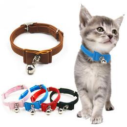 Campanas de gato campanas online-1pcs ajustable collar de perro del collar del gato del animal doméstico del lazo del arco lindo del perrito con Bell para el pequeño perro cadena ajustable Animales de animal doméstico cuello