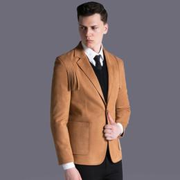 Erkekler tek düğme püskül süet takım elbise ceket sonbahar kış slim fit Kore tarzı rahat iş suni deri katı blazer artı boyutu cheap winter suit jacket men leather nereden kış takım elbise ceket erkek deri tedarikçiler