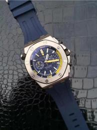 Wholesale Chronograph Rubber - Classic Luxury watch brand men sports black dial siliver case quartz chronograph vk watch stainless Rubber royla oak offshore original clasp