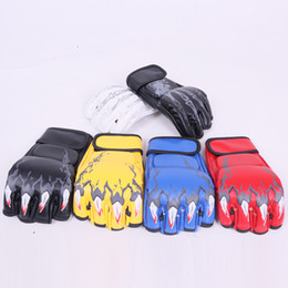 Wholesale cheap mma - wholesale cheap ufc grappling half finger protection gym training combat boxing fight mma glove free shipping