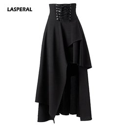 Wholesale Gothic Long Skirts Women - LASPERAL 2018 New Women Retro High Waist Irregular Ham Long Skirts Waist-up Placket Zipper Gothic Lolita Strap Black Long Skirts