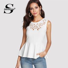 Blusas de la blusa formal online-Sheinside blanco hueco sin mangas Peplum Top 2018 verano redondo cuello volante blusa mujeres liso Slim Fit elegante blusa Y1891109