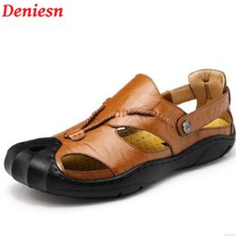 Wholesale casual sandles - Deniesn Brand Mens Fisherman Sandals High Quality Black Big Yards Mens Footwear Outdoor Summer Dress Leather Man Sandles