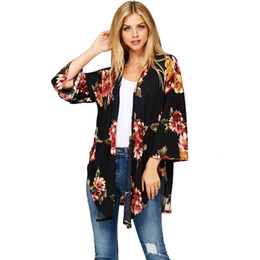 ebba741c69 Women Floral Print Loose Shawl Kimono Cardigan Top Cover up Shirt Blouse  kimono cardigan Cape for a swimsuit camisetas mujer top