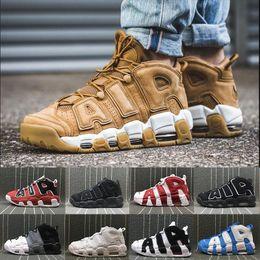 buy popular dfe3e e34b0  With Box  Neueste Mehr Uptempo SUPTEMPO Herren-Basketball-Schuhe PRM  Premium 96 Flachs Weizen Gold Metallic Tri Farbe 3M Pippen Edition Herren  Sneak