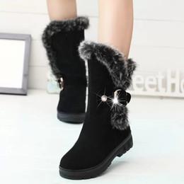 2018 bottes mi-mollet de qualité bottes en cuir de bottes de neige en fourrure boule de poils de bottes de chaussures de femmes de coton plat chaud ? partir de fabricateur