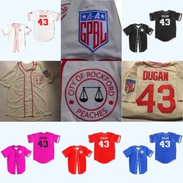 Wholesale ken costume - #43 Jimmy Dugan Rockford Peaches Tom Hanks All Stiched Baseball Jersey AAGPBL A League of Their Own Movie Costume For Men Women Youth