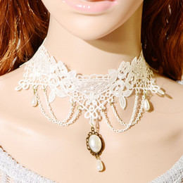 Wholesale Pearl Necklace Brooch - 2018 Wholesale Adjustable Length White Lace Bridal Necklace With Pearls Brooch And Tassel Bridal Jewelry Bridal Accessories Free Shipping