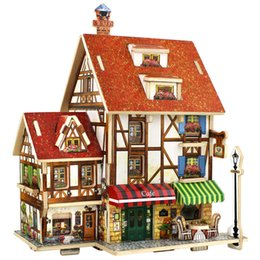 Wholesale 3d Puzzles Wooden House - 3D Puzzle Wooden Toys Coffee Lodge House Home Puzzles Composite Model DIY Wood Toys for Children House Modeling