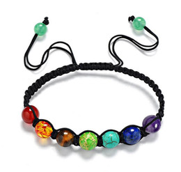Wholesale 8mm Turquoise Beads - 7 Chakra Bracelets For Men Women Rhinestone Reiki Prayer Stones Healing Balance Beads Bracelet hand-woven 8mm Beads