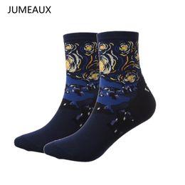Wholesale Hot Lisa - JUMEAUX Hot Starry Night Painting Art Socks Fashion Mona Lisa Short Socks Vintage Style Pure Cotton for Women Men